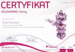 Certyfikat SOLIDWORKS - formy - Eryk Gawrych